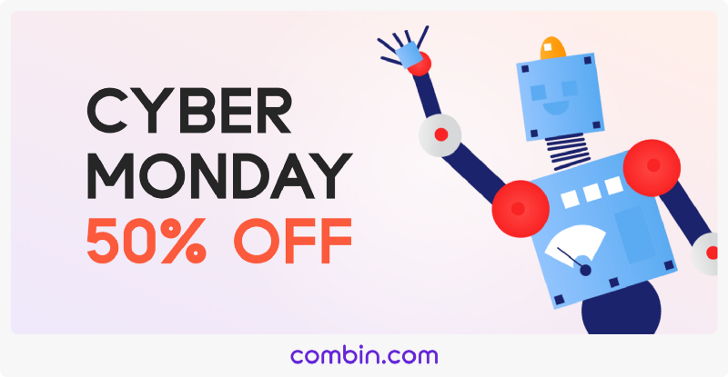 Cyber Monday Sale on Combin! Save 50% OFF Personal Or Business Plan